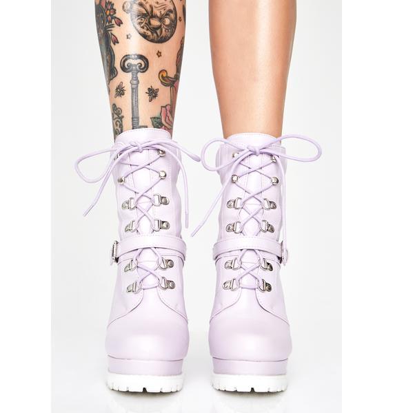Lilac Match My Drip Combat Booties