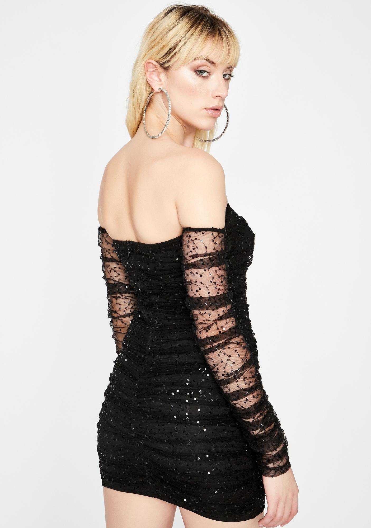 Dark Open Invite Off The Shoulder Dress