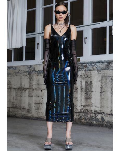 Kickdrum Holographic Maxi Dress