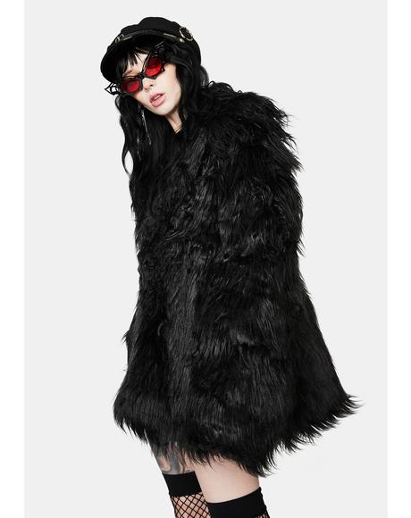 Dark Faux Fur Punk Long Coat