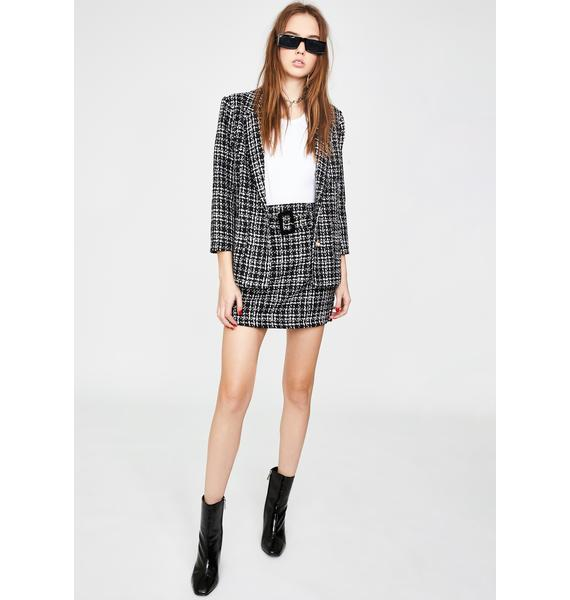 Honey Punch Black Plaid Tweed Blazer