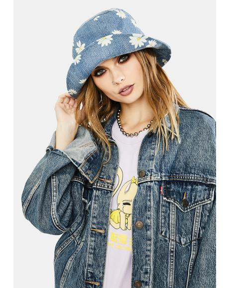 Flower Girl Denim Bucket Hat