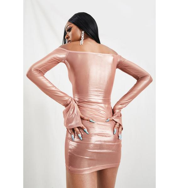RXCH Rose Metallic Mini Dress