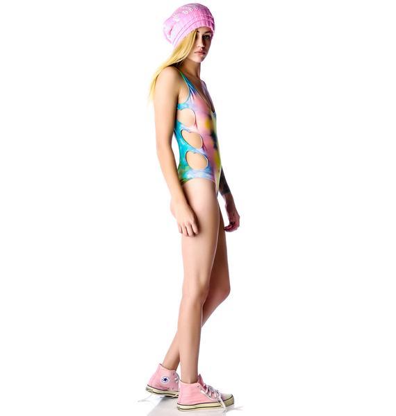 Lolli Swim Ziggy Stardust Heart Cut Out One Piece Swimsuit