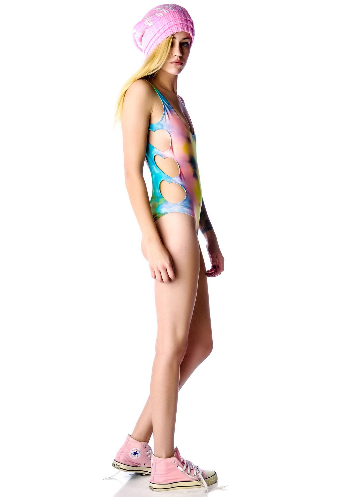 Lolli Swim Ziggy Stardust Heart Cut Out One Piece Swimsuit