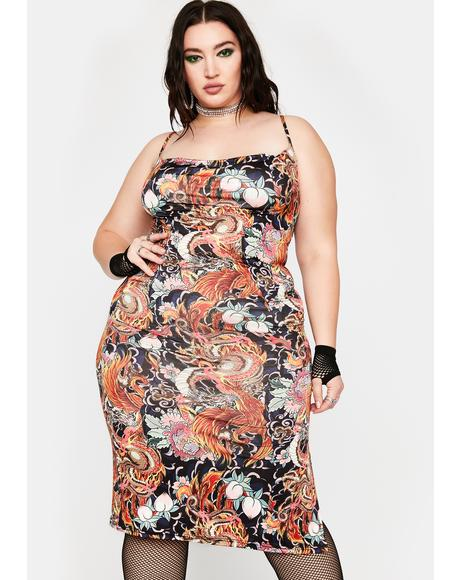 Plus Phoenix Dragon Print Slip Dress