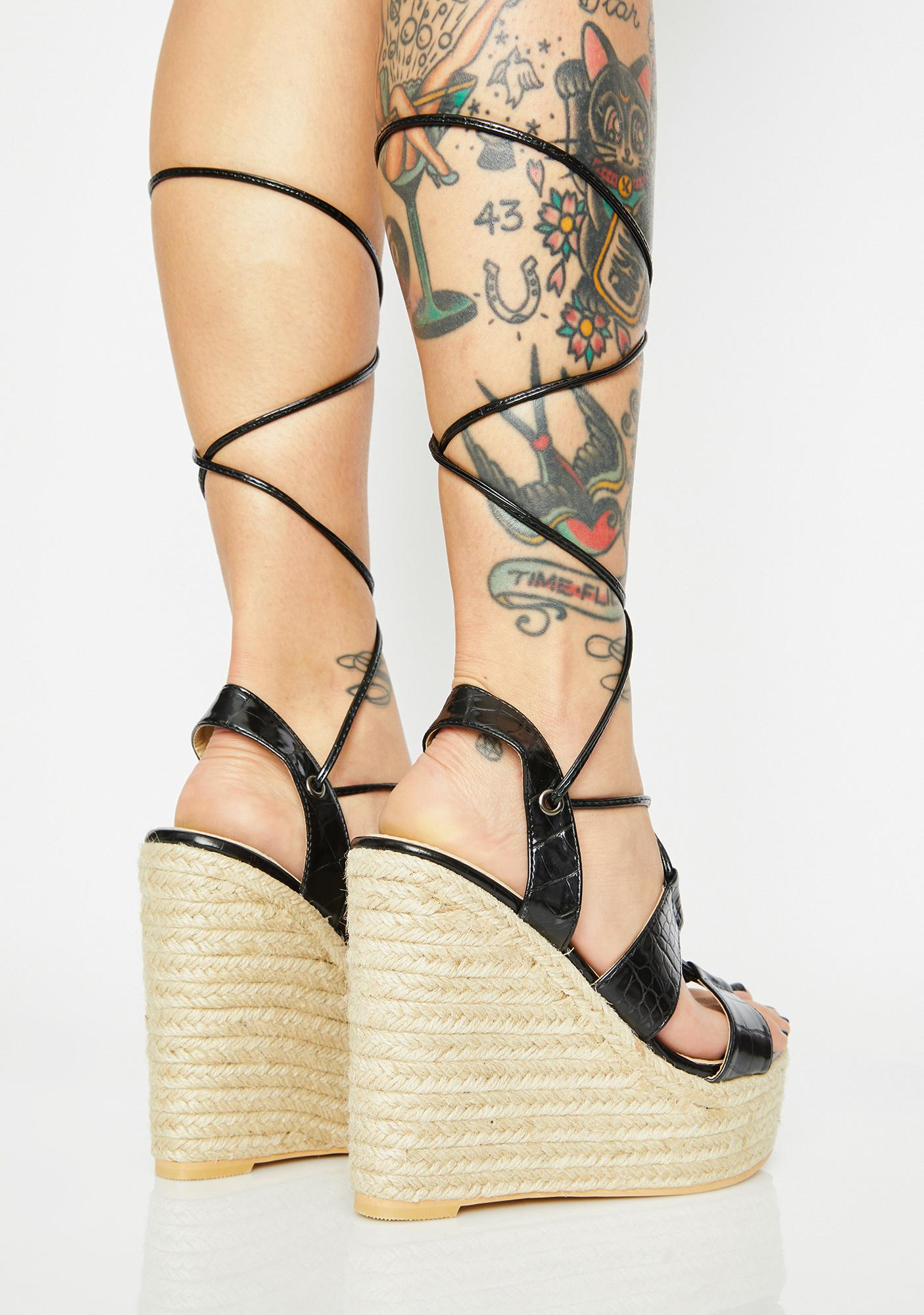 Make Me Feel Lace Up Wedge