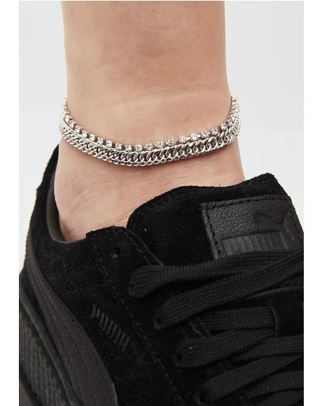 Spark Of LIght Rhinestone Chain Anklet