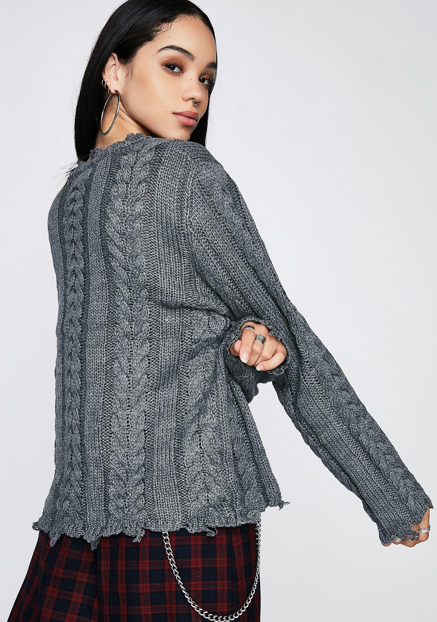 Distressed Cable Knit Sweater | Dolls Kill