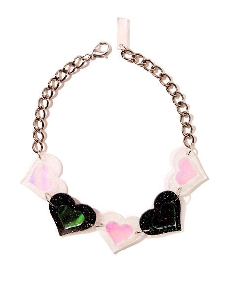 Black And White Heart Choker