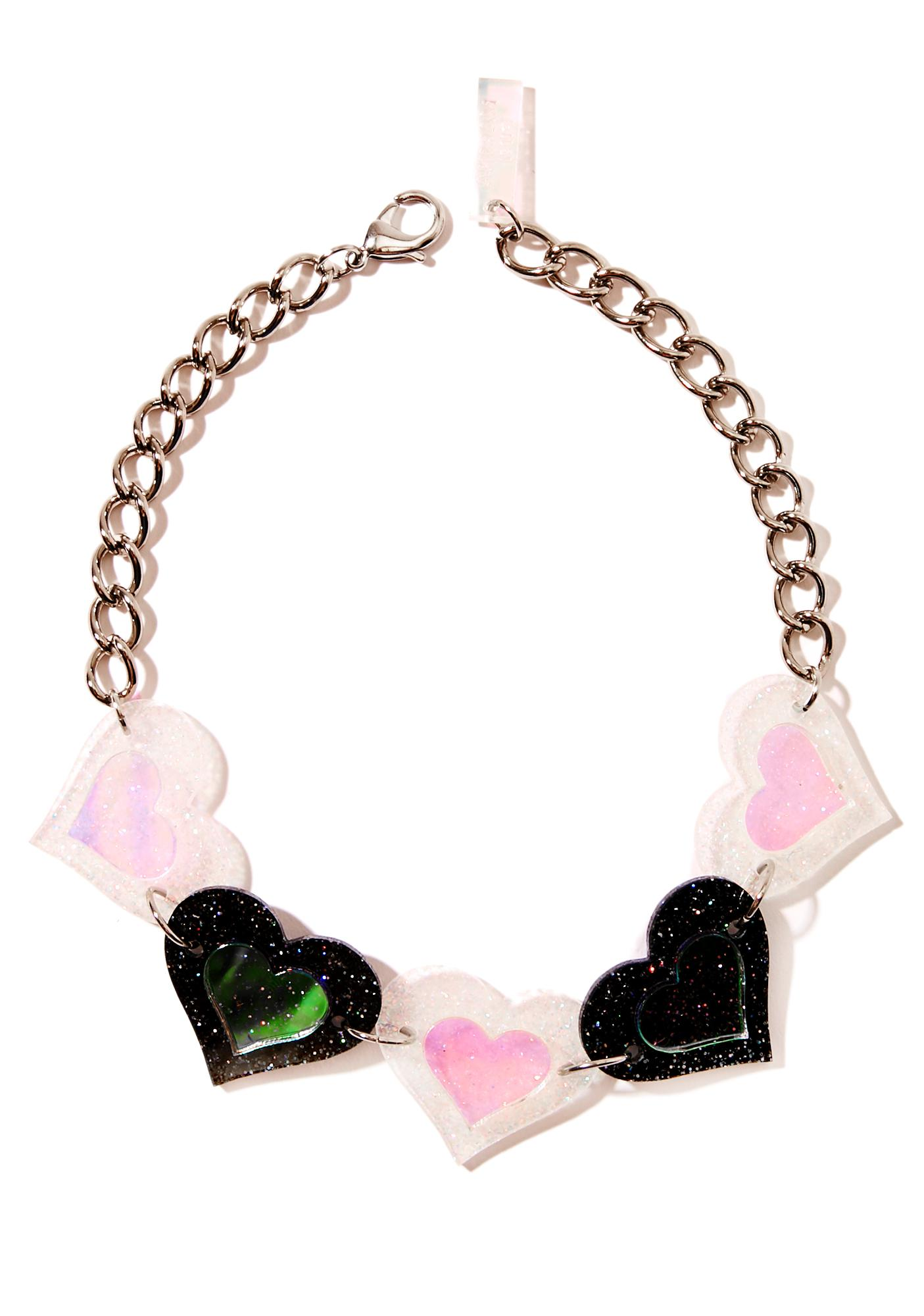 Marina Fini Black And White Heart Choker
