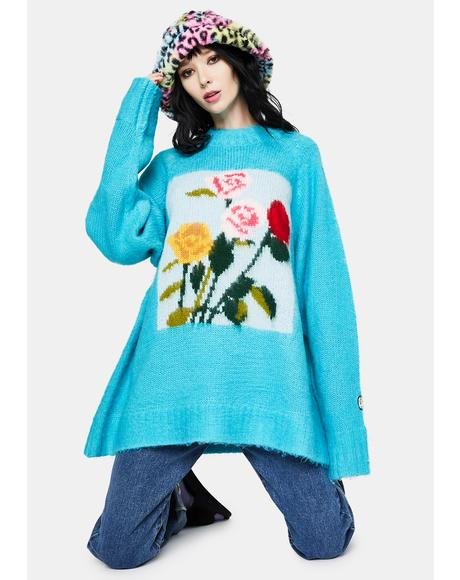x Charlotte Mei Flower Big Knit Sweater