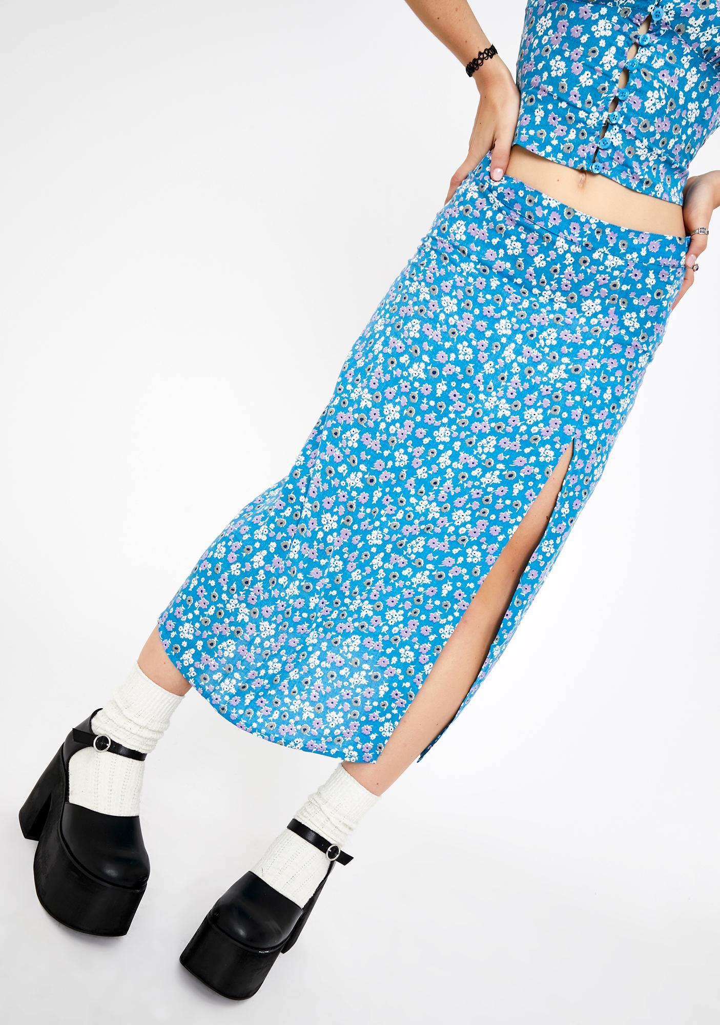 Motel Blue Bloom Saika Midi Skirt