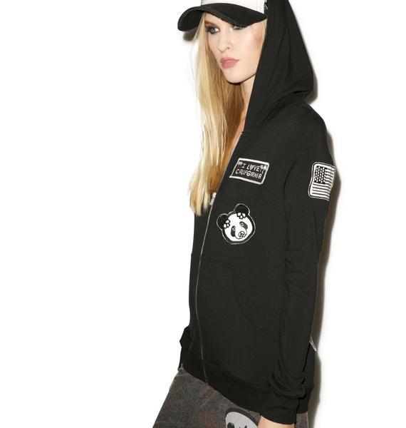 Lauren Moshi Beth Patches All Over Zip Up Hoodie
