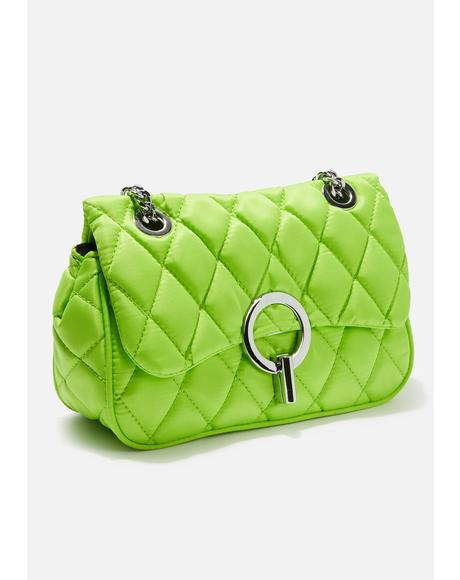 Lime Quilted Cross Body Bag