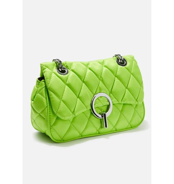 Skinnydip Lime Quilted Cross Body Bag