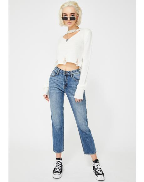 Medium Wash High Rise Mom Jeans
