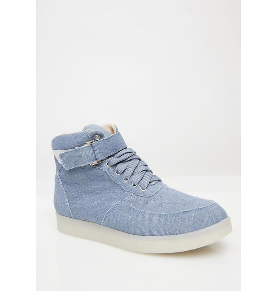 Denim Moon Man Light Up Sneakers
