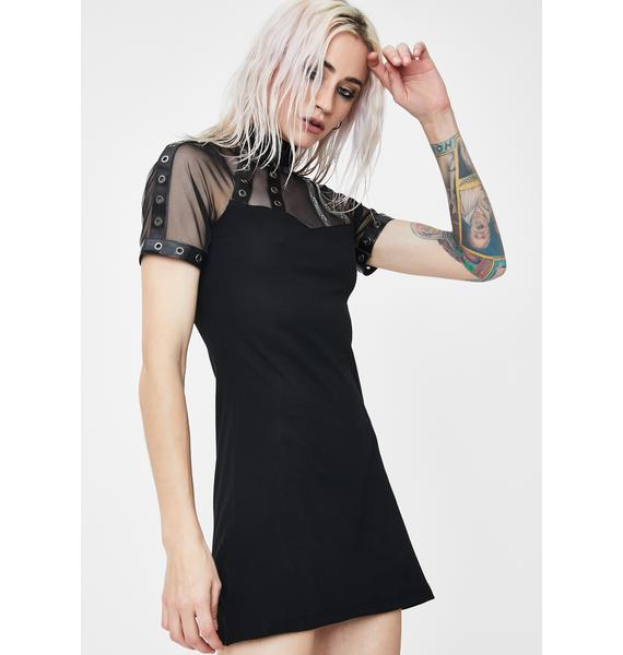 Dark In Love Punk Mesh Collar Tee Dress