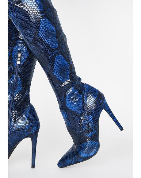 Dark Blue Westloop Snakeskin Chap Boots