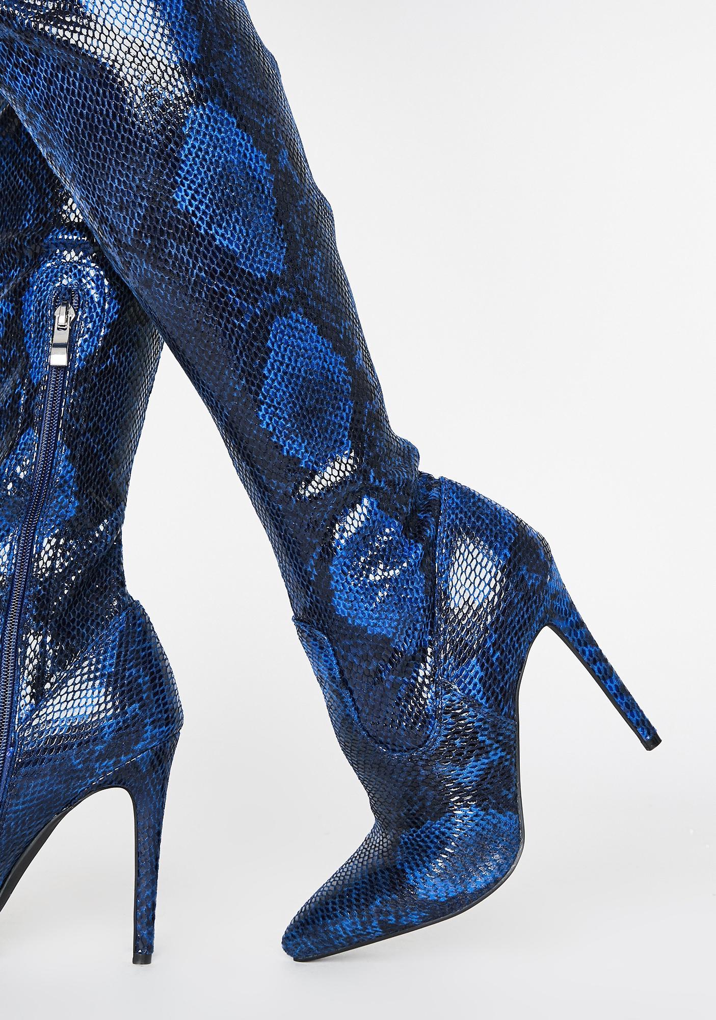 AZALEA WANG Dark Blue Westloop Snakeskin Chap Boots