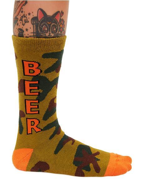 Camo Beer Crew Socks