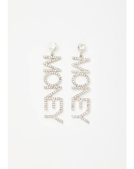 Money Movin' Rhinestone Earrings