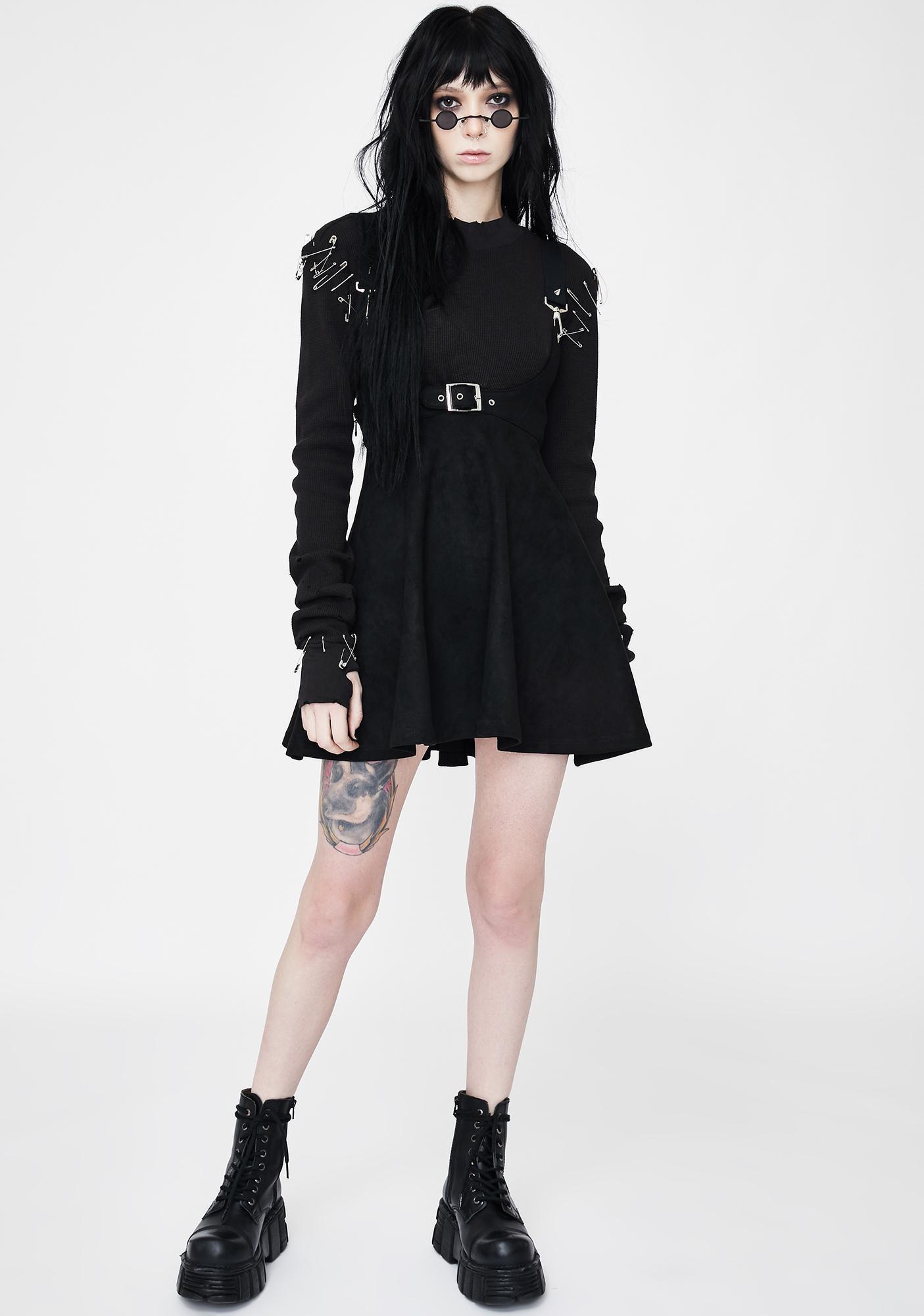 Punk Rave Velvet High Waist Strap Skirt
