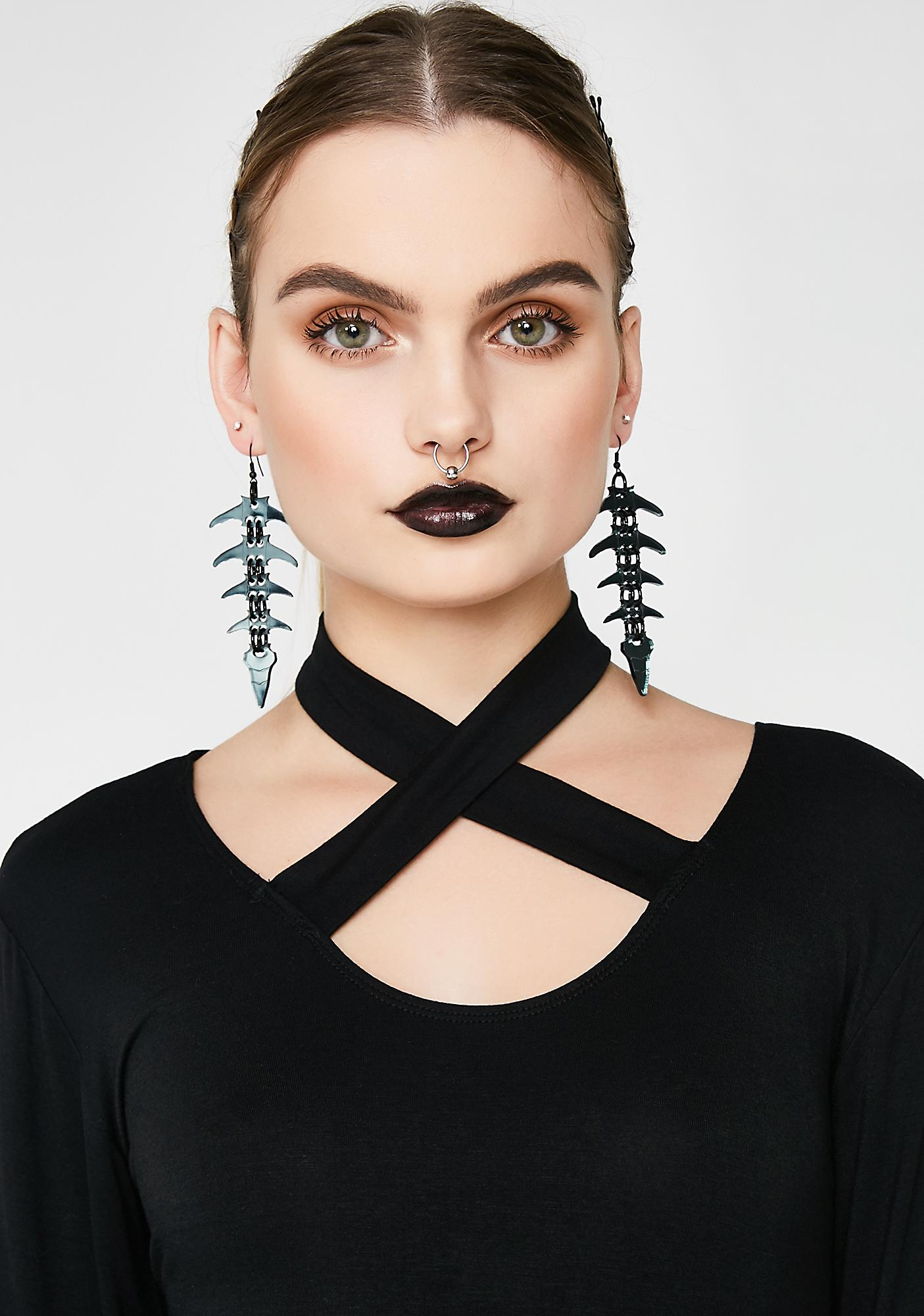 Electric Candy Couture Black Mirror Spine Earrings Bone Skeleton