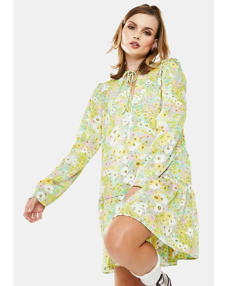 Green Floral Babydoll Dress