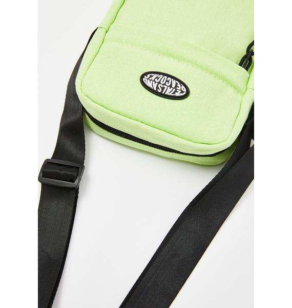 Petals and Peacocks Safety Green Shoulder Bag