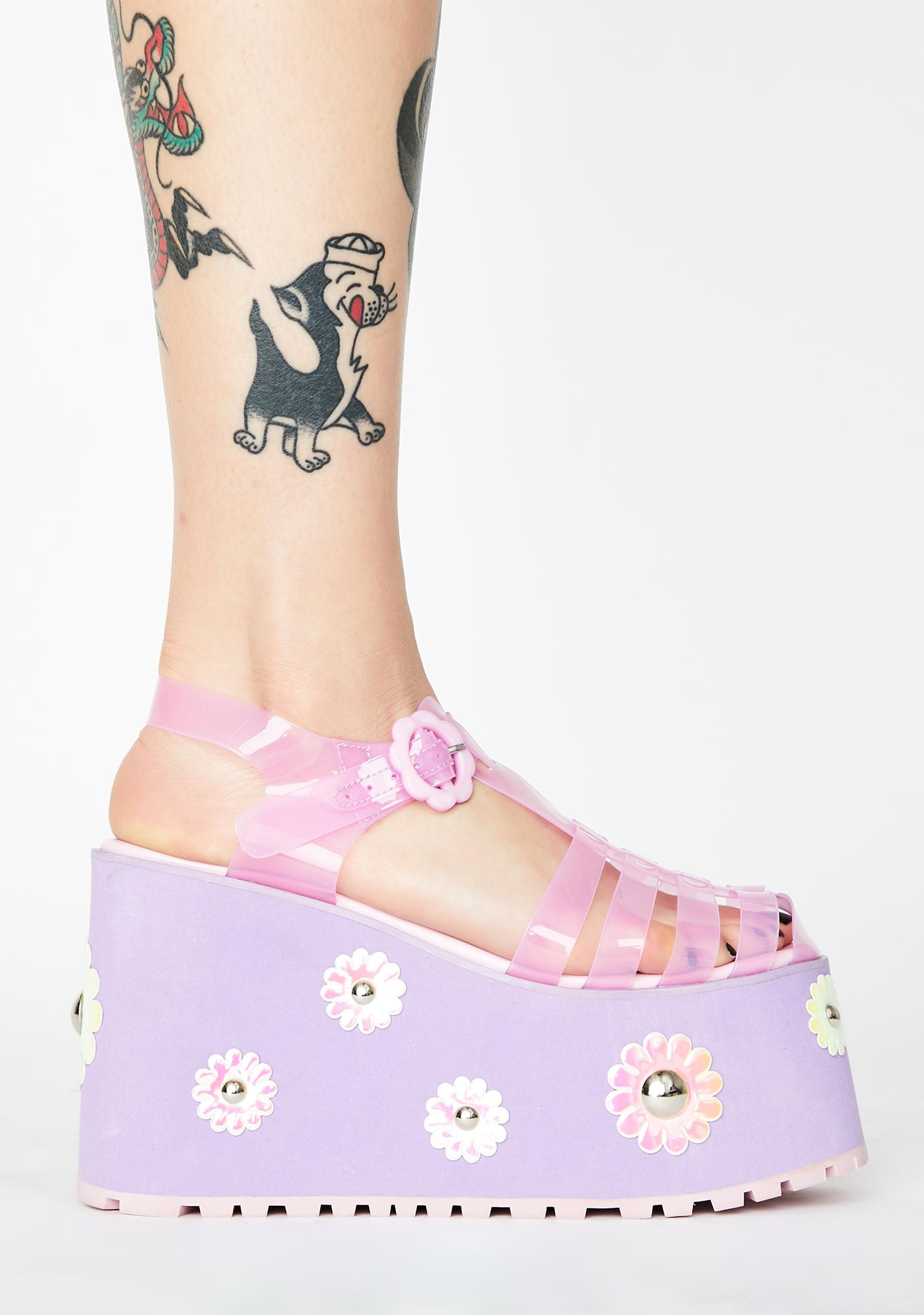 Sugar Thrillz Chasin' Daisies Jelly Sandals
