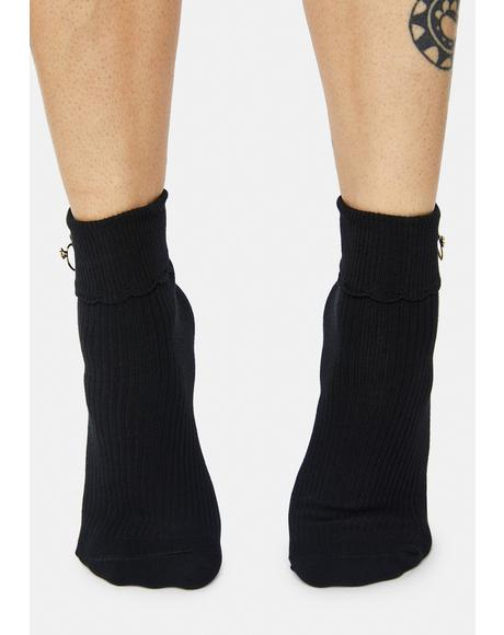 Noir Flying Heart Wings Ribbed Crew Socks