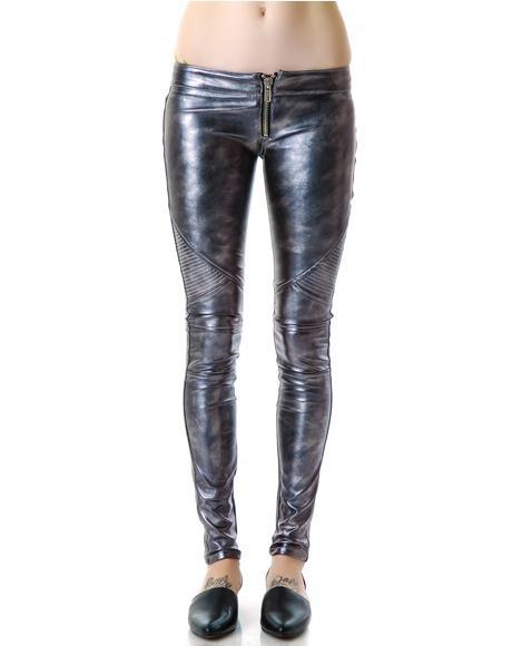 Mad Moto Leatherette Leggings