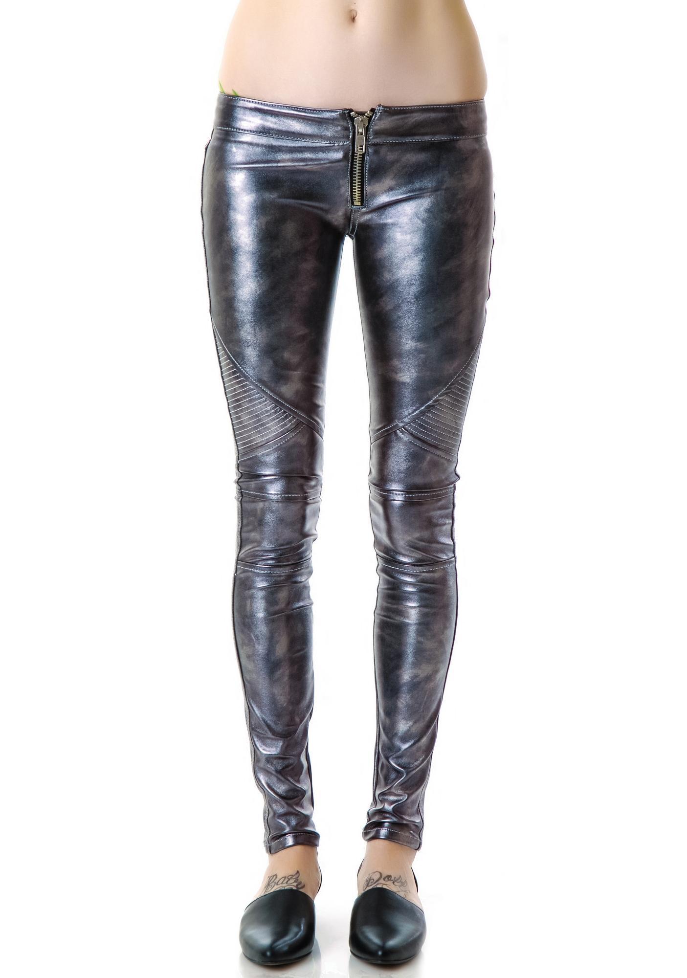 Frankie B Mad Moto Leatherette Leggings
