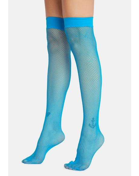 Aqua Everyday Slay Fishnet Thigh Highs