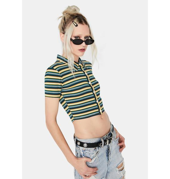 Teal Shake Your Groove Thing Crop Top
