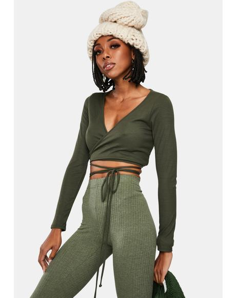 Olive Fanatic Love Wrap Crop Top