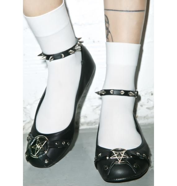 Demonia Star Studded Ankle Strap Flats