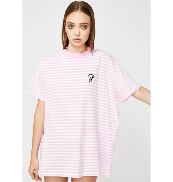 Lazy Oaf X Peanuts Stripey Snoopy Graphic Tee