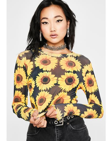 Sunny Like A Flower Mesh Top