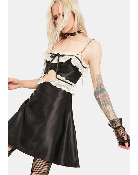 Black Chain Strap Satin Dress