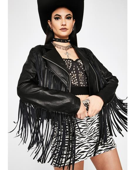 High Roads Fringe Moto Jacket