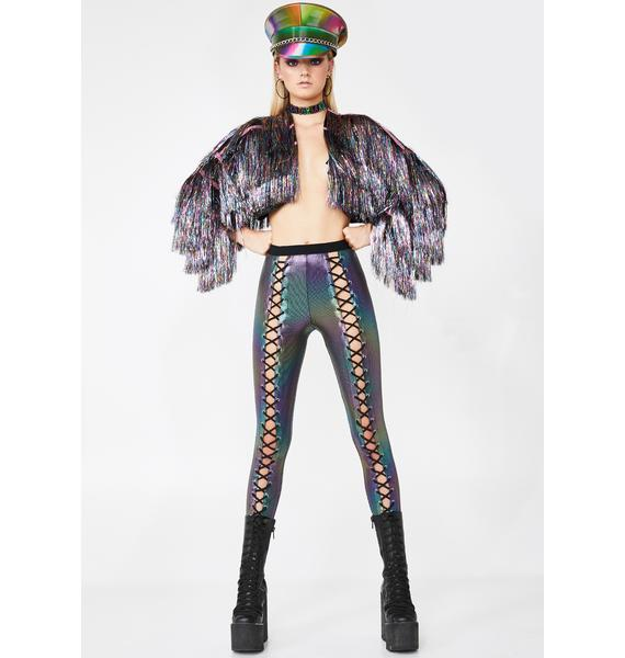 Club Exx Oil Slick Holographic Nancy Corset Leggings