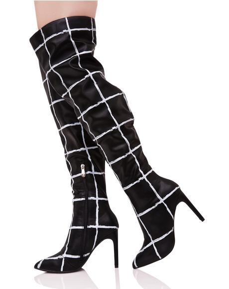 Gridwork Thigh-High Boots