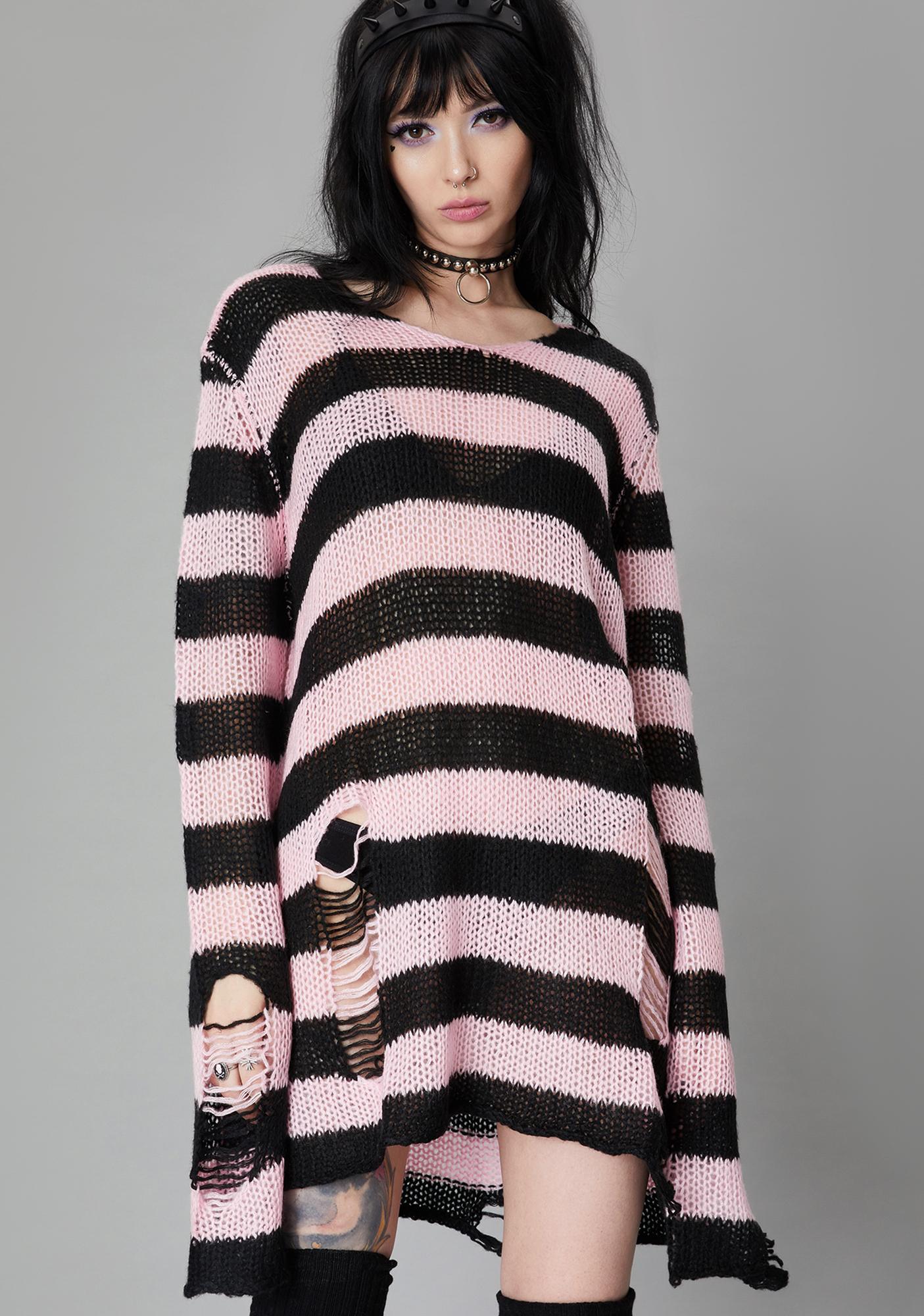 Widow Rose Eternal Nightmare Distressed Sweater