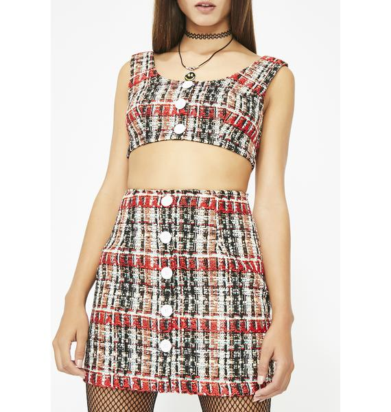Clueless Who Tweed Skirt