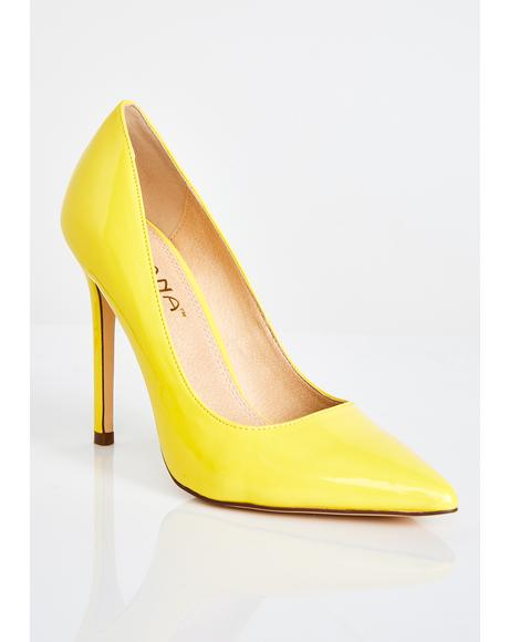 Golden Heart Breaker Patent Pumps