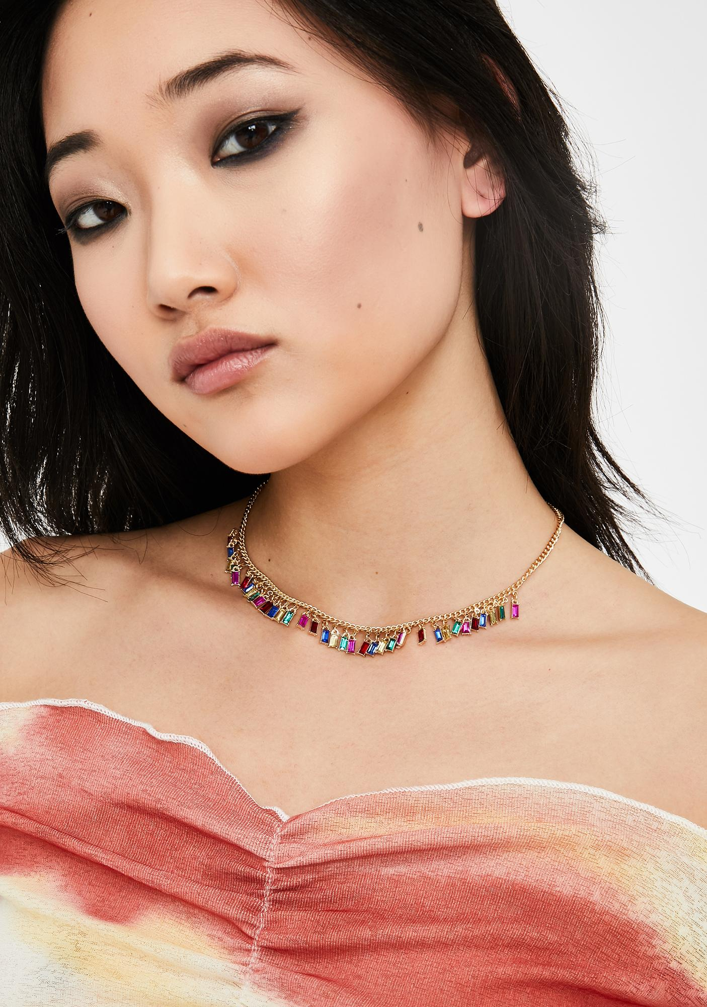 Rainbow Diamonds In My Collarbone Teardrop Necklace