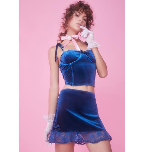 Sugar Thrillz Kiss Me Awake Velvet Skirt